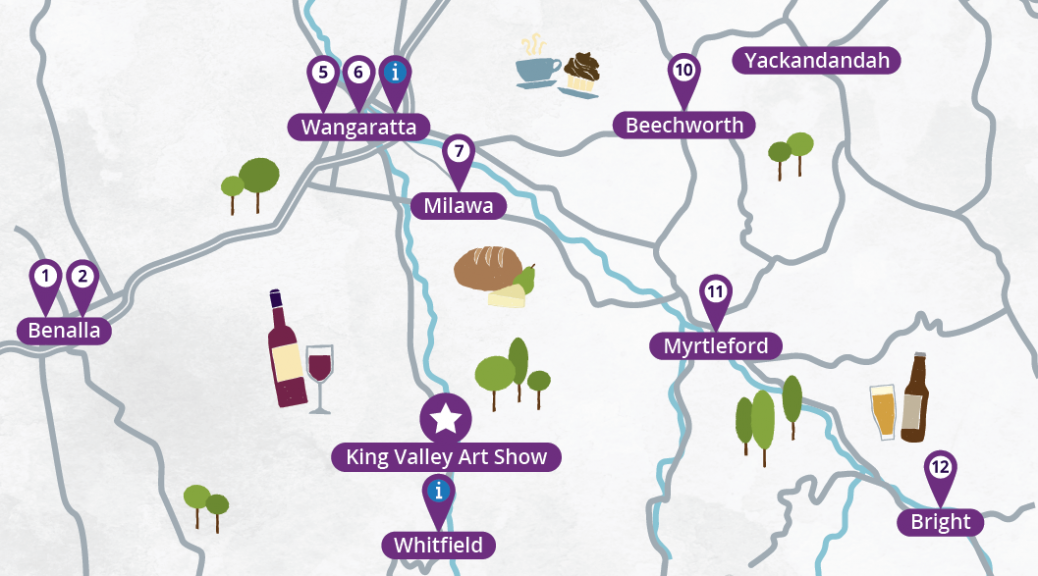 Detail of Map of art galleries near King Valley